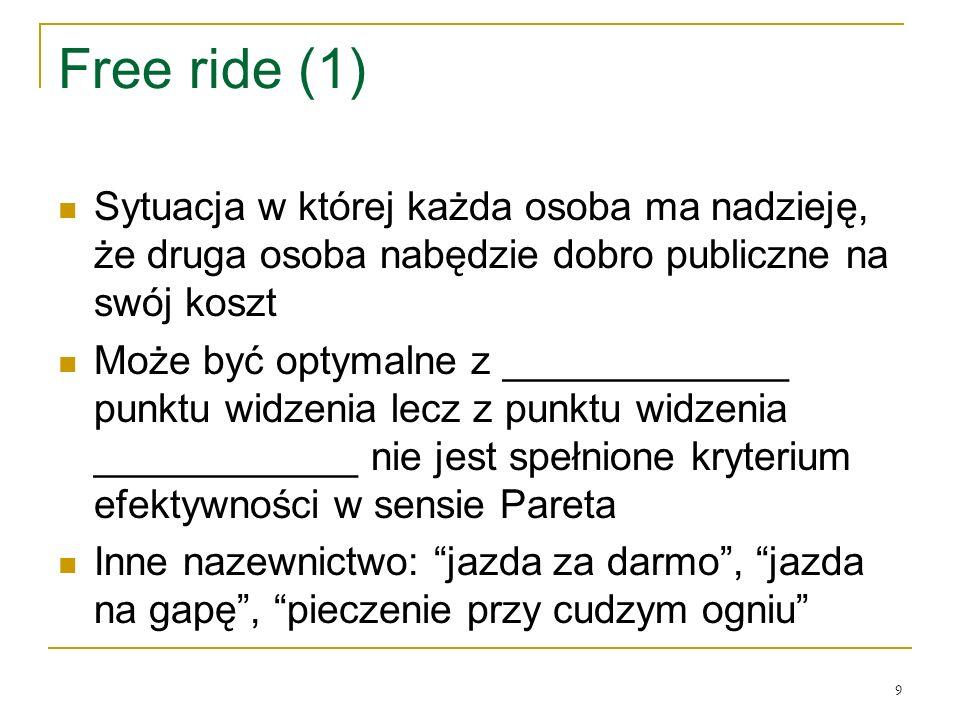 9 Free ride (1) Sytuacja w ktόrej każda osoba ma nadzieję, że druga osoba nabędzie dobro publiczne na swόj koszt Może być optymalne z _____________ pu