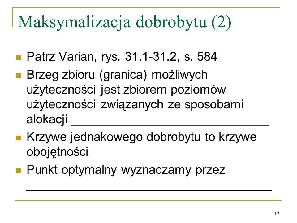 12 Maksymalizacja dobrobytu (2) Patrz Varian, rys.