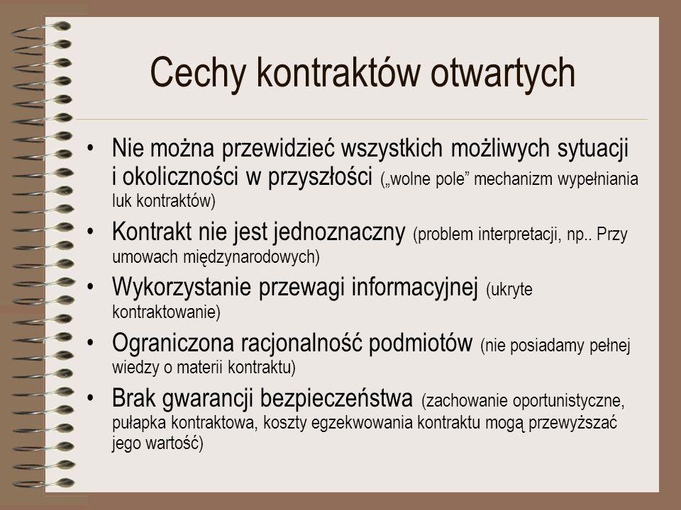 Cechy kontraktów otwartych Nie można przewidzieć wszystkich możliwych sytuacji i okoliczności w przyszłości (wolne pole mechanizm wypełniania luk kont