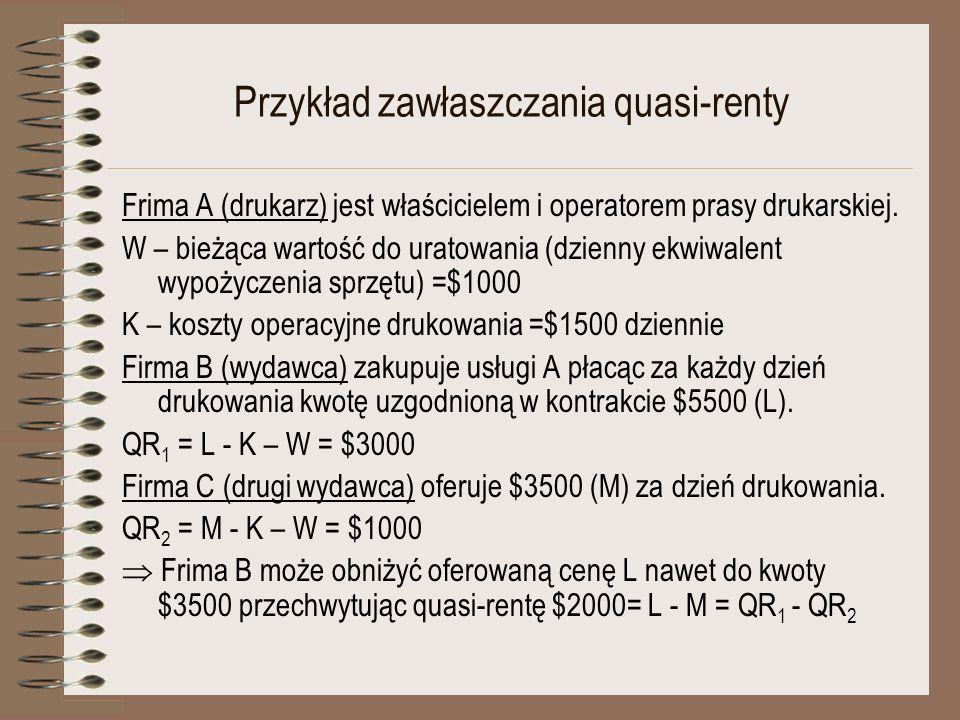 Przykład zawłaszczania quasi-renty Frima A (drukarz) jest właścicielem i operatorem prasy drukarskiej. W – bieżąca wartość do uratowania (dzienny ekwi