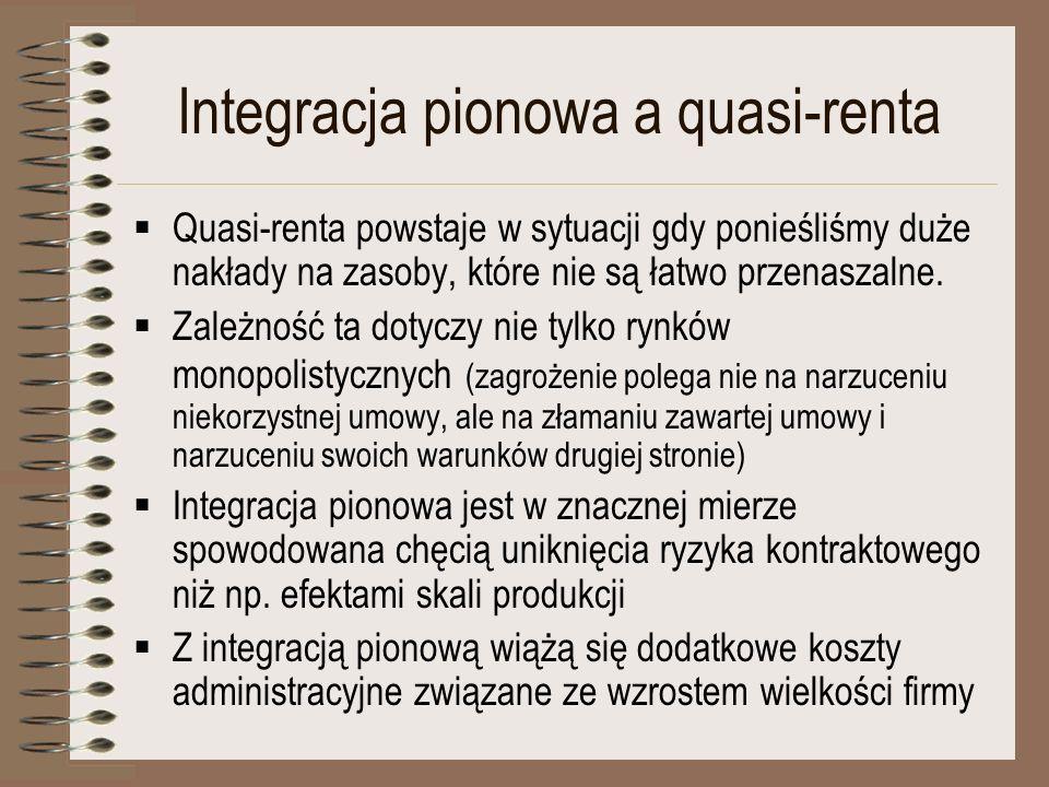 Integracja pionowa a quasi-renta Quasi-renta powstaje w sytuacji gdy ponieśliśmy duże nakłady na zasoby, które nie są łatwo przenaszalne. Zależność ta