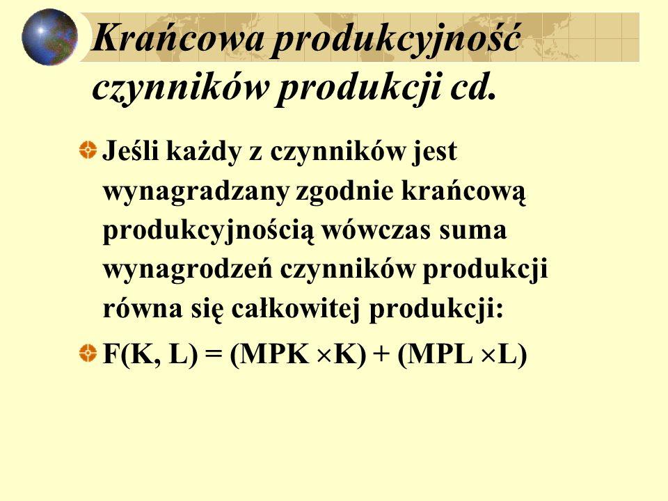 Krańcowa produkcyjność czynników produkcji cd. Jeśli każdy z czynników jest wynagradzany zgodnie krańcową produkcyjnością wówczas suma wynagrodzeń czy