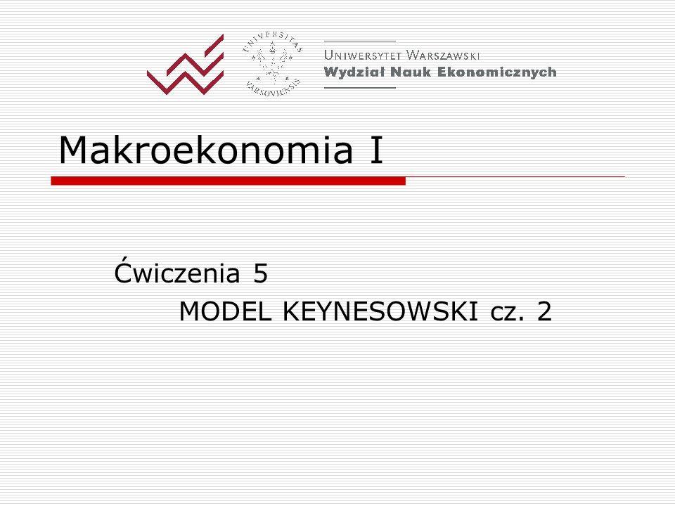Makroekonomia I Ćwiczenia 5 MODEL KEYNESOWSKI cz. 2