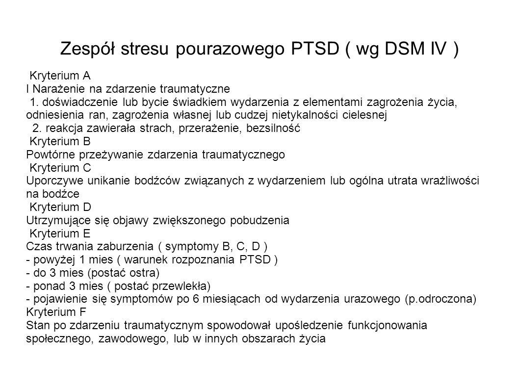 Zespół stresu pourazowego PTSD ( wg DSM IV ) Kryterium A I Narażenie na zdarzenie traumatyczne 1. doświadczenie lub bycie świadkiem wydarzenia z eleme