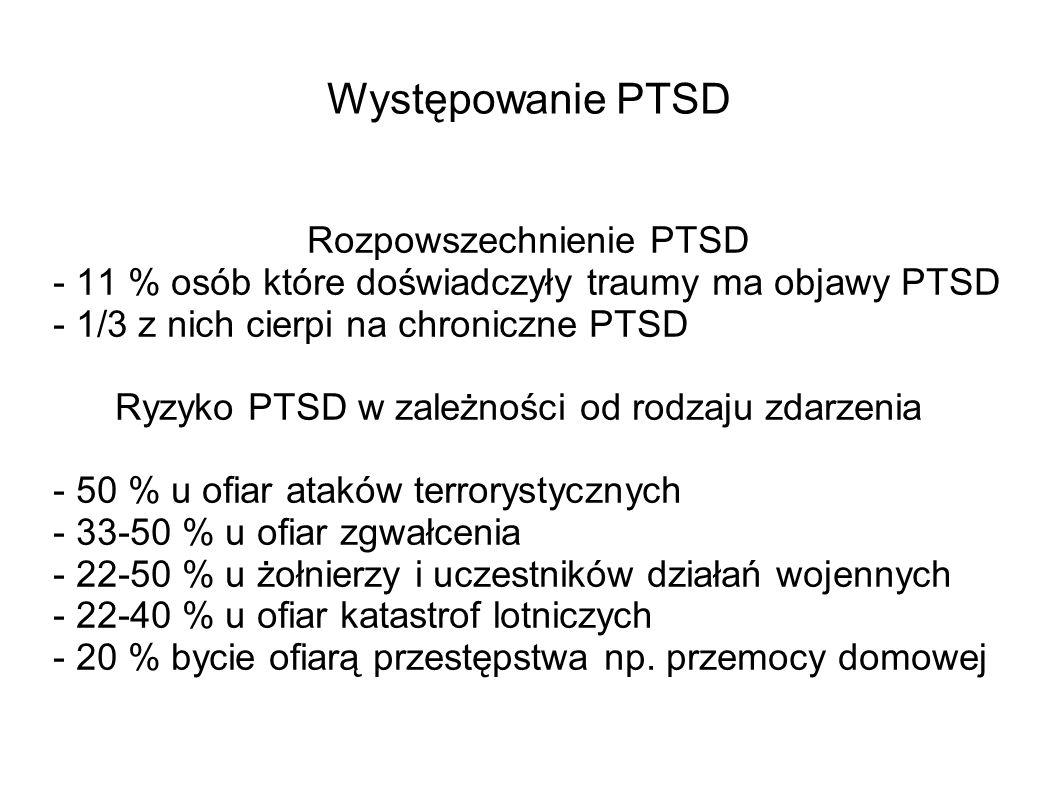 Występowanie PTSD Rozpowszechnienie PTSD - 11 % osób które doświadczyły traumy ma objawy PTSD - 1/3 z nich cierpi na chroniczne PTSD Ryzyko PTSD w zal