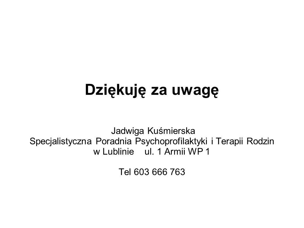 Dziękuję za uwagę Jadwiga Kuśmierska Specjalistyczna Poradnia Psychoprofilaktyki i Terapii Rodzin w Lublinie ul. 1 Armii WP 1 Tel 603 666 763