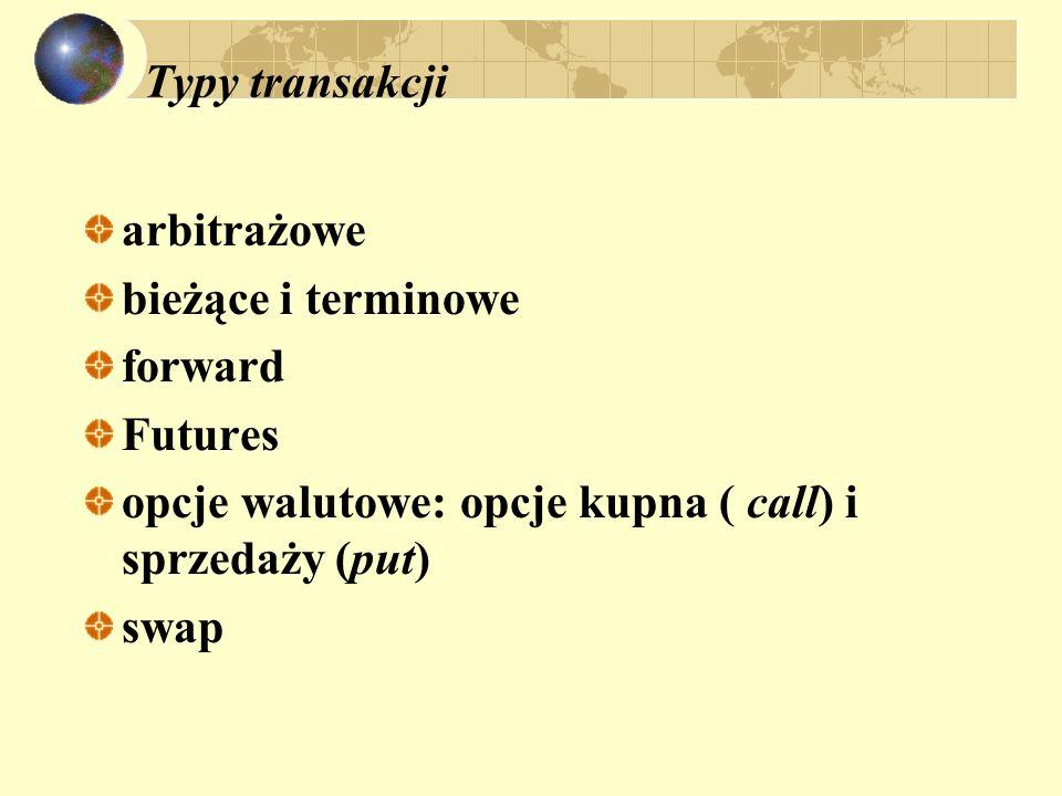 Typy transakcji arbitrażowe bieżące i terminowe forward Futures opcje walutowe: opcje kupna ( call) i sprzedaży (put) swap