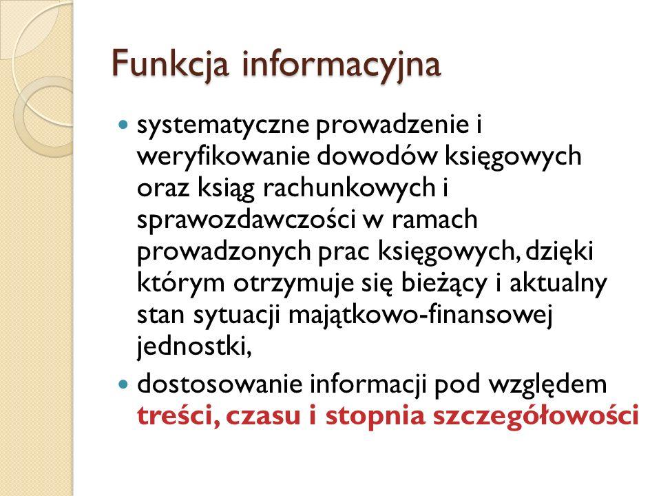Funkcja informacyjna systematyczne prowadzenie i weryfikowanie dowodów księgowych oraz ksiąg rachunkowych i sprawozdawczości w ramach prowadzonych pra