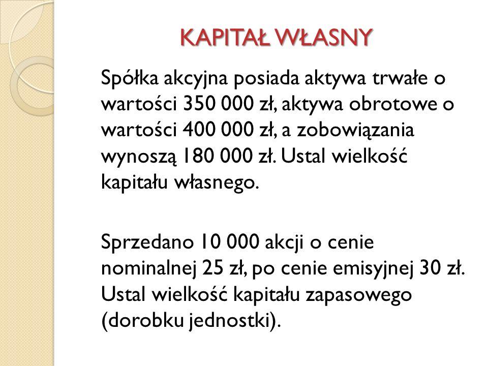 KAPITAŁ WŁASNY Spółka akcyjna posiada aktywa trwałe o wartości 350 000 zł, aktywa obrotowe o wartości 400 000 zł, a zobowiązania wynoszą 180 000 zł. U