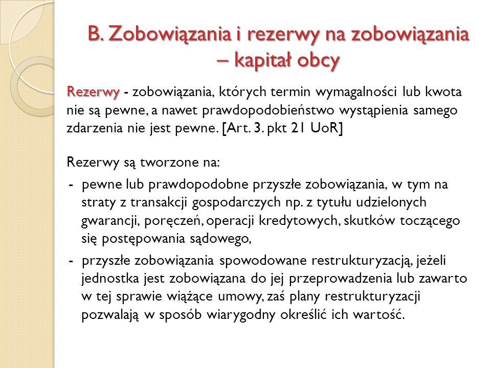 Rezerwy Rezerwy - zobowiązania, których termin wymagalności lub kwota nie są pewne, a nawet prawdopodobieństwo wystąpienia samego zdarzenia nie jest p