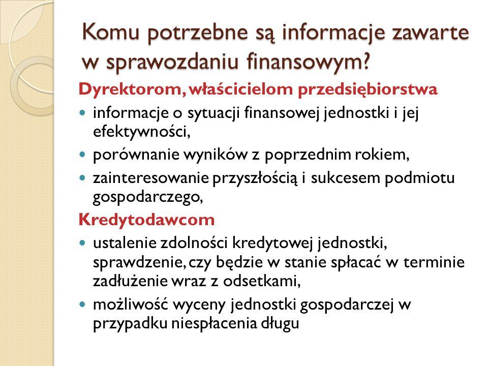 Komu potrzebne są informacje zawarte w sprawozdaniu finansowym? Dyrektorom, właścicielom przedsiębiorstwa informacje o sytuacji finansowej jednostki i