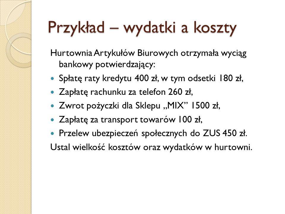 Przykład – wydatki a koszty Hurtownia Artykułów Biurowych otrzymała wyciąg bankowy potwierdzający: Spłatę raty kredytu 400 zł, w tym odsetki 180 zł, Z