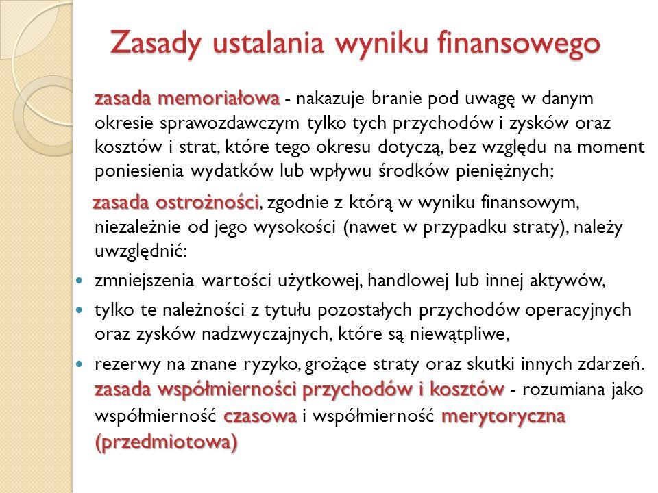 Zasady ustalania wyniku finansowego zasada memoriałowa zasada memoriałowa - nakazuje branie pod uwagę w danym okresie sprawozdawczym tylko tych przych