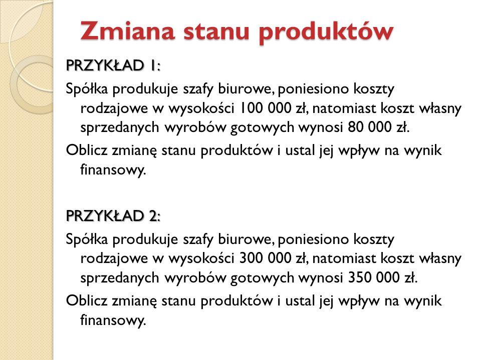 PRZYKŁAD 1: Spółka produkuje szafy biurowe, poniesiono koszty rodzajowe w wysokości 100 000 zł, natomiast koszt własny sprzedanych wyrobów gotowych wy