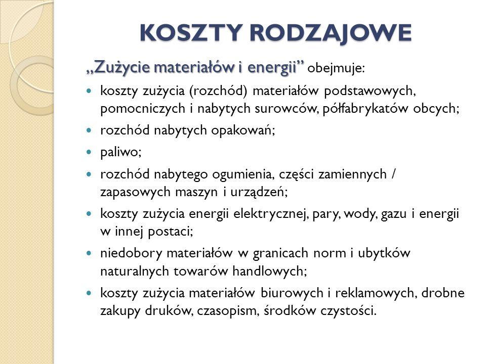 Zużycie materiałów i energii Zużycie materiałów i energii obejmuje: koszty zużycia (rozchód) materiałów podstawowych, pomocniczych i nabytych surowców