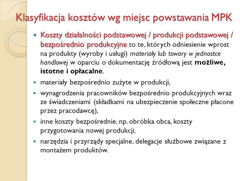 Klasyfikacja kosztów wg miejsc powstawania MPK Koszty działalności podstawowej / produkcji podstawowej / bezpośrednio produkcyjne Koszty działalności