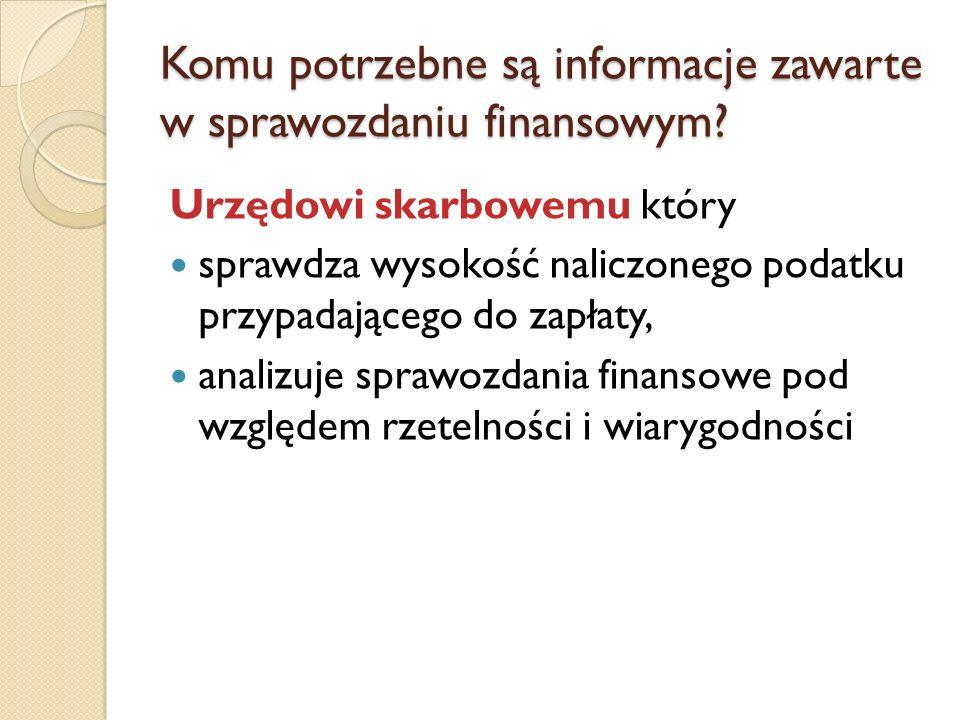 Urzędowi skarbowemu który sprawdza wysokość naliczonego podatku przypadającego do zapłaty, analizuje sprawozdania finansowe pod względem rzetelności i