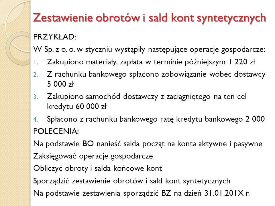 Zestawienie obrotów i sald kont syntetycznych PRZYKŁAD: W Sp. z o. o. w styczniu wystąpiły następujące operacje gospodarcze: 1. Zakupiono materiały, z