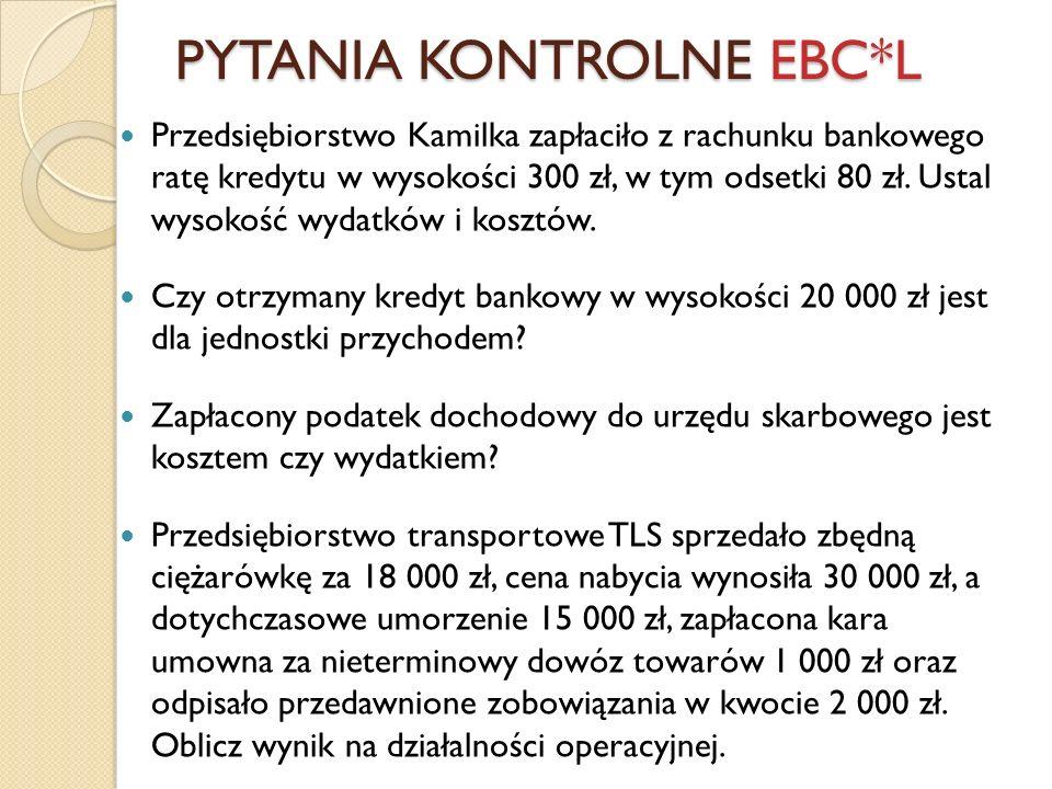 Przedsiębiorstwo Kamilka zapłaciło z rachunku bankowego ratę kredytu w wysokości 300 zł, w tym odsetki 80 zł. Ustal wysokość wydatków i kosztów. Czy o
