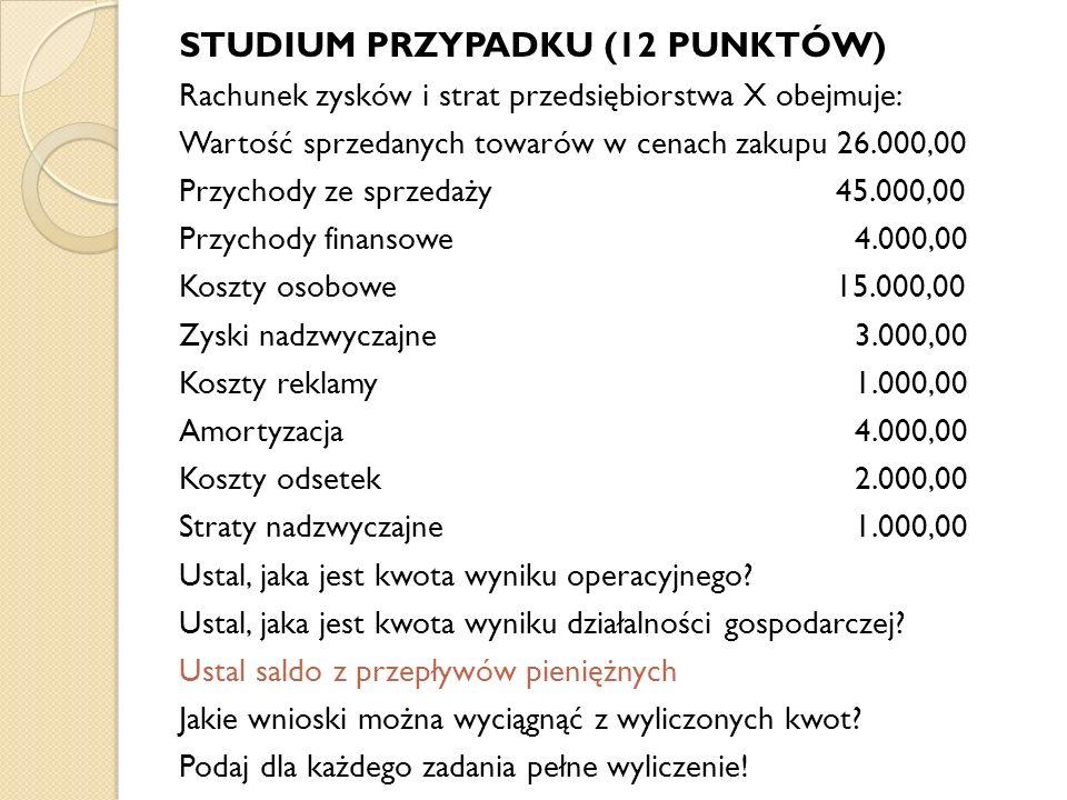 STUDIUM PRZYPADKU (12 PUNKTÓW) Rachunek zysków i strat przedsiębiorstwa X obejmuje: Wartość sprzedanych towarów w cenach zakupu 26.000,00 Przychody ze