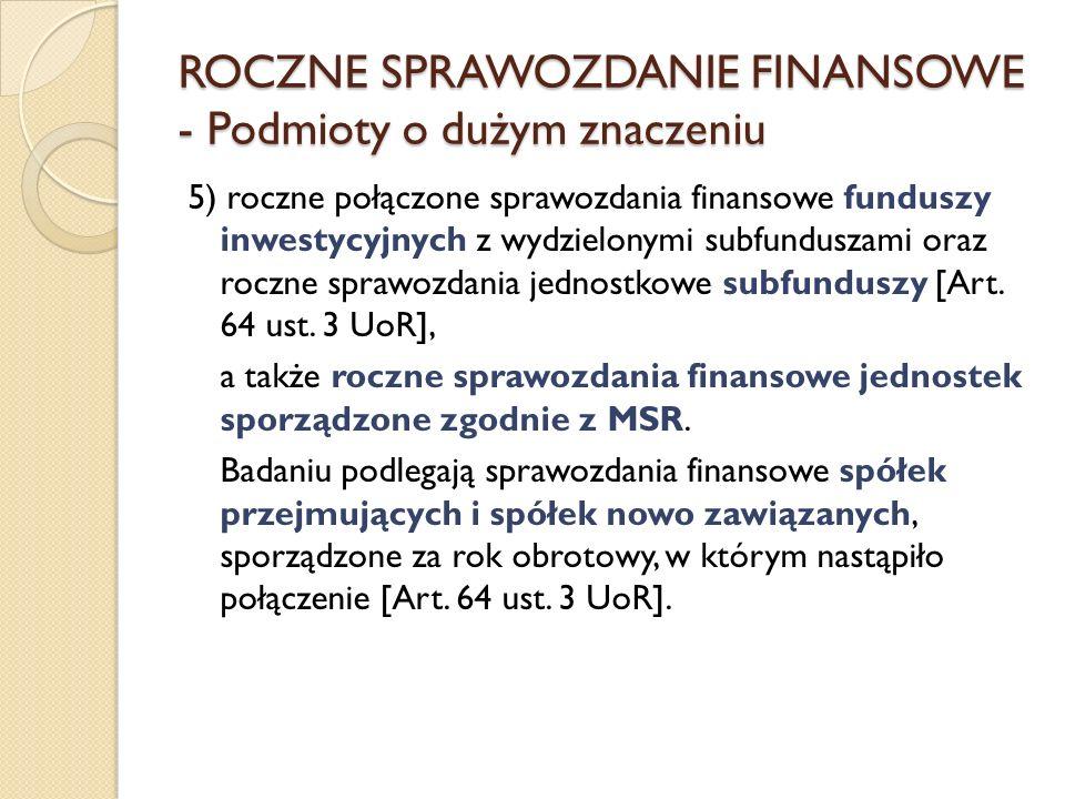 5) roczne połączone sprawozdania finansowe funduszy inwestycyjnych z wydzielonymi subfunduszami oraz roczne sprawozdania jednostkowe subfunduszy [Art.