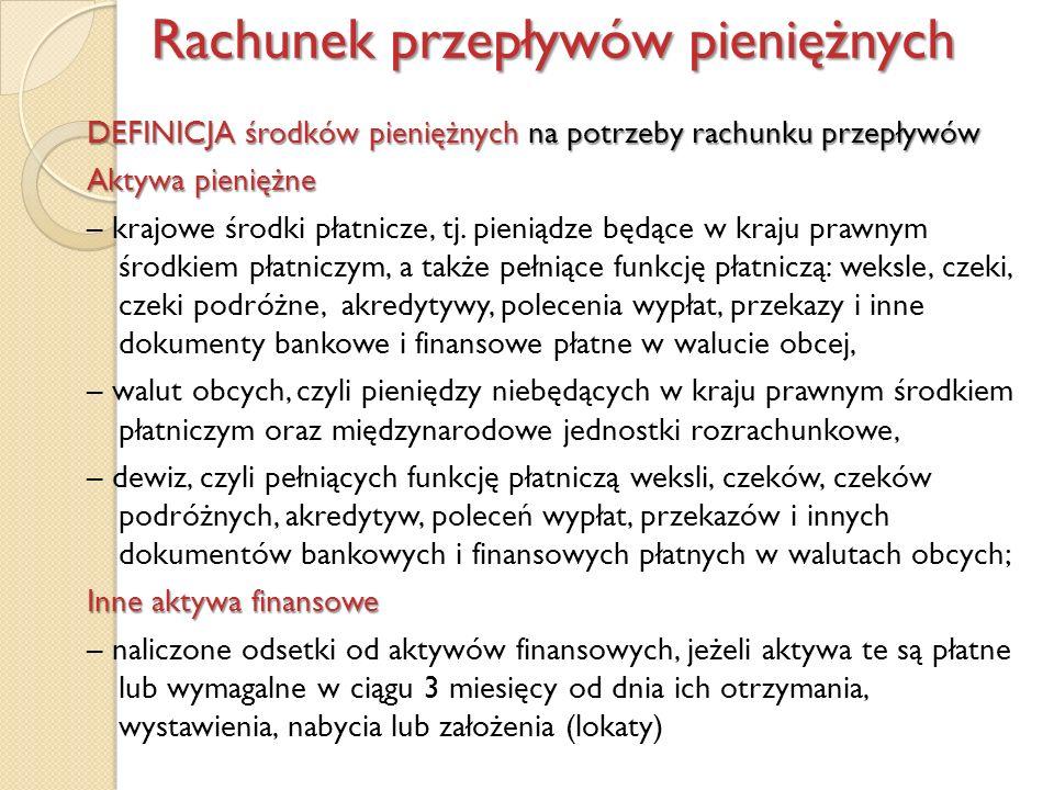 DEFINICJA środków pieniężnych na potrzeby rachunku przepływów Aktywa pieniężne – krajowe środki płatnicze, tj. pieniądze będące w kraju prawnym środki