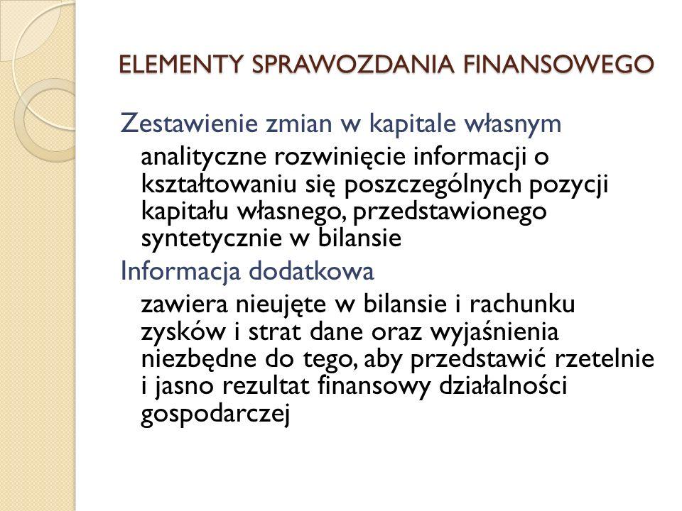 Zestawienie zmian w kapitale własnym analityczne rozwinięcie informacji o kształtowaniu się poszczególnych pozycji kapitału własnego, przedstawionego