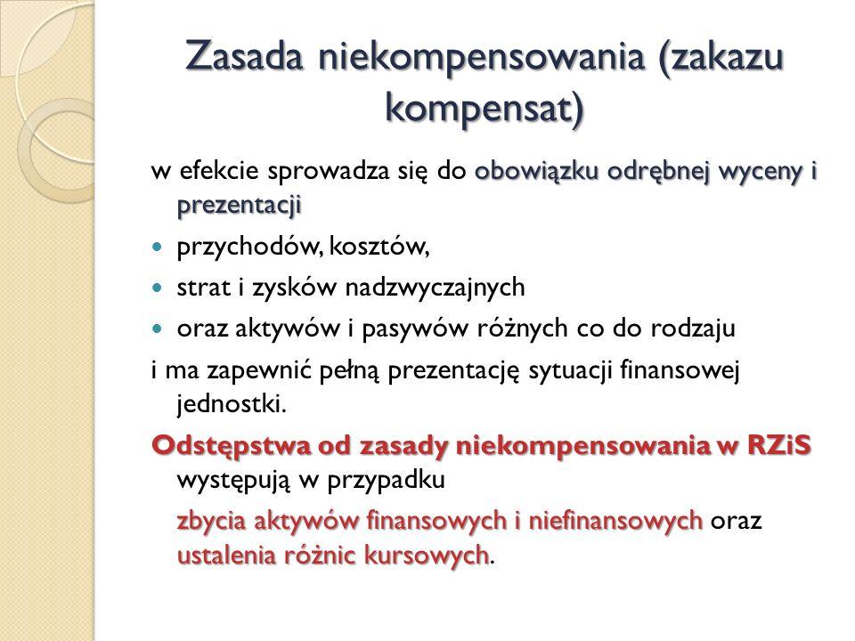 Zasada niekompensowania (zakazu kompensat) obowiązku odrębnej wyceny i prezentacji w efekcie sprowadza się do obowiązku odrębnej wyceny i prezentacji