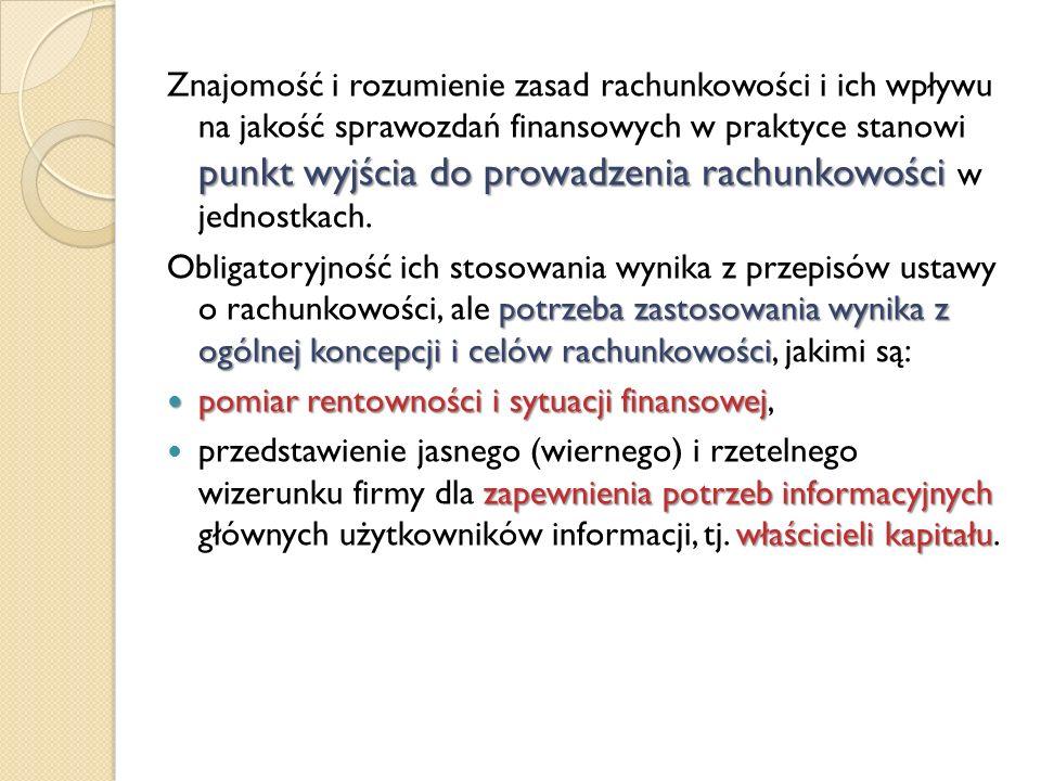 punkt wyjścia do prowadzenia rachunkowości Znajomość i rozumienie zasad rachunkowości i ich wpływu na jakość sprawozdań finansowych w praktyce stanowi