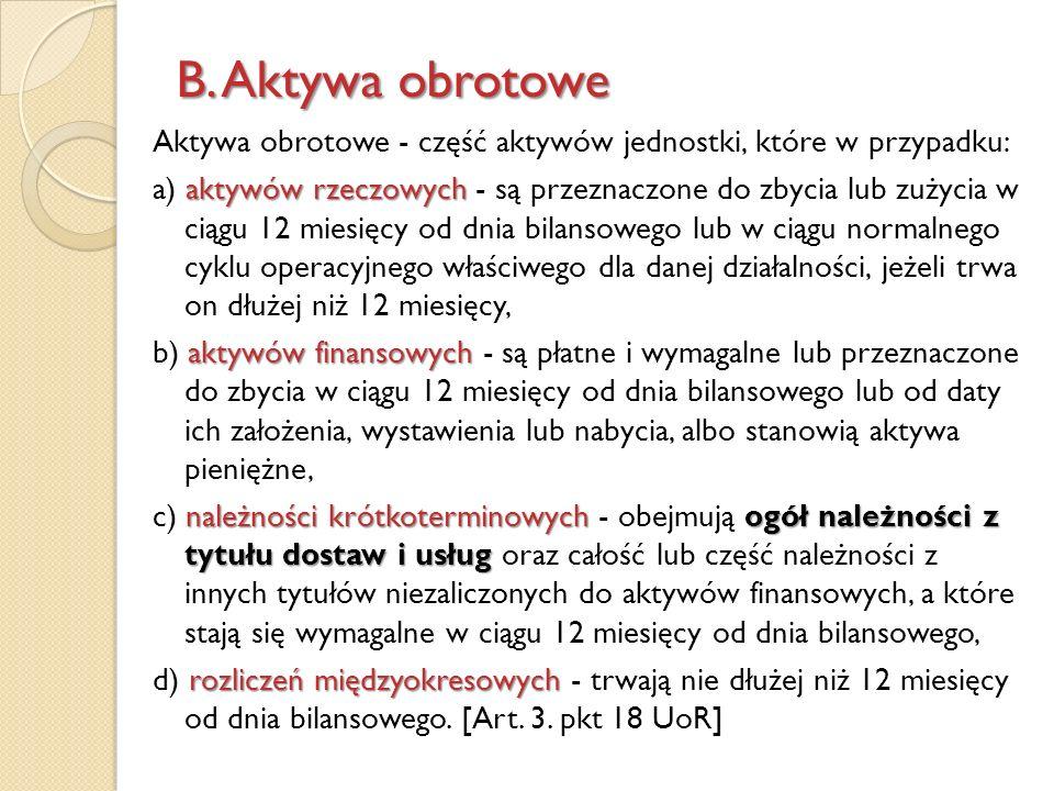 B. Aktywa obrotowe Aktywa obrotowe - część aktywów jednostki, które w przypadku: aktywów rzeczowych a) aktywów rzeczowych - są przeznaczone do zbycia