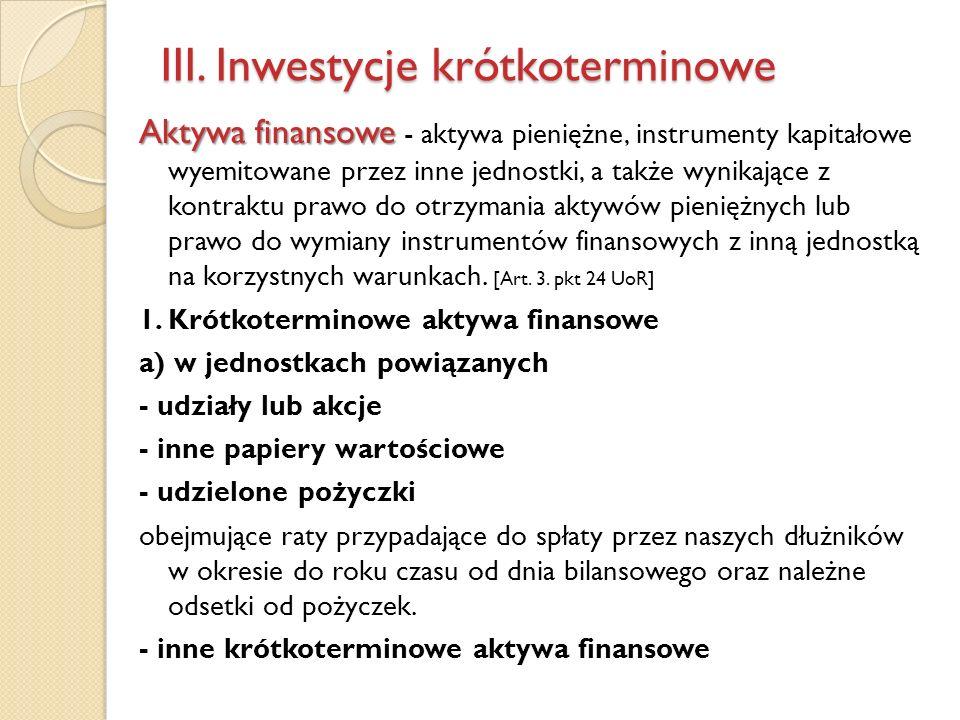 III. Inwestycje krótkoterminowe Aktywa finansowe Aktywa finansowe - aktywa pieniężne, instrumenty kapitałowe wyemitowane przez inne jednostki, a także