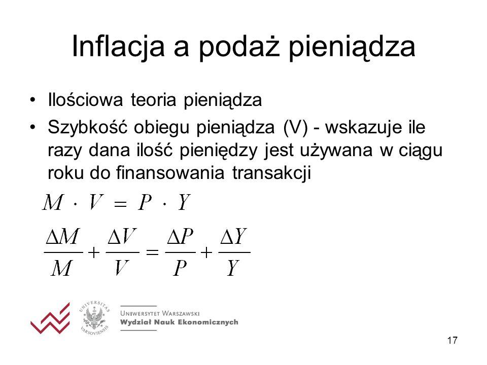 17 Inflacja a podaż pieniądza Ilościowa teoria pieniądza Szybkość obiegu pieniądza (V) - wskazuje ile razy dana ilość pieniędzy jest używana w ciągu r