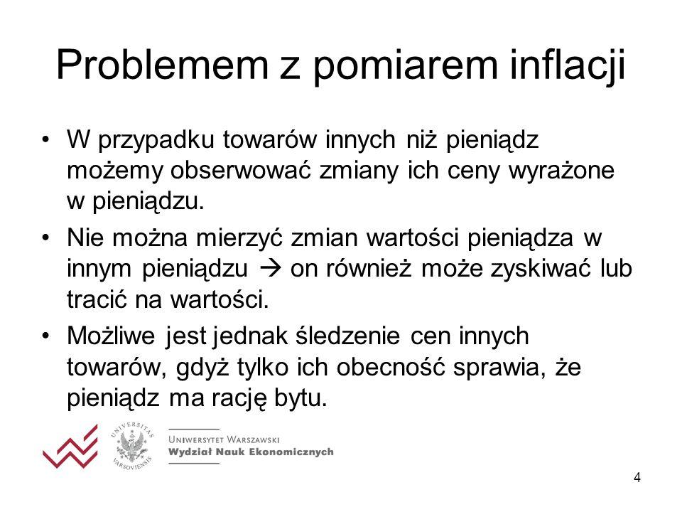4 Problemem z pomiarem inflacji W przypadku towarów innych niż pieniądz możemy obserwować zmiany ich ceny wyrażone w pieniądzu. Nie można mierzyć zmia