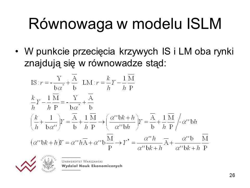 26 Równowaga w modelu ISLM W punkcie przecięcia krzywych IS i LM oba rynki znajdują się w równowadze stąd: