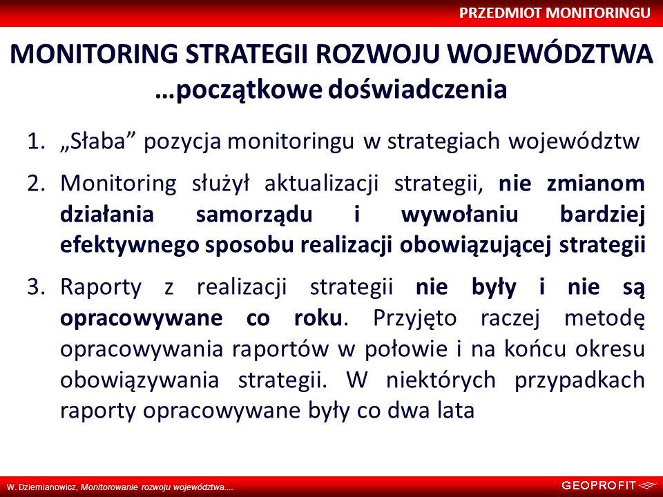 PRZEDMIOT MONITORINGU W. Dziemianowicz, Monitorowanie rozwoju województwa…. MONITORING STRATEGII ROZWOJU WOJEWÓDZTWA …początkowe doświadczenia 1.Słaba