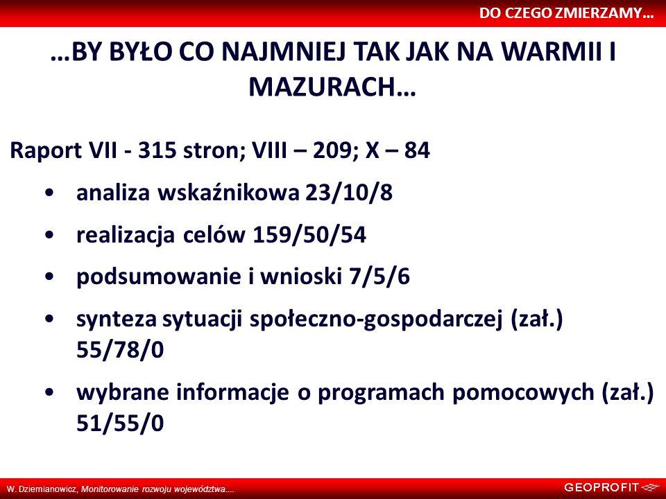 DO CZEGO ZMIERZAMY… W. Dziemianowicz, Monitorowanie rozwoju województwa…. …BY BYŁO CO NAJMNIEJ TAK JAK NA WARMII I MAZURACH… Raport VII - 315 stron; V