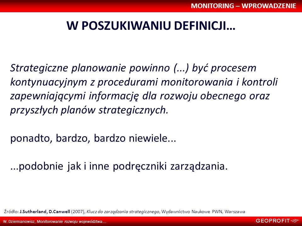 MONITORING – WPROWADZENIE W. Dziemianowicz, Monitorowanie rozwoju województwa…. W POSZUKIWANIU DEFINICJI… Strategiczne planowanie powinno (...) być pr