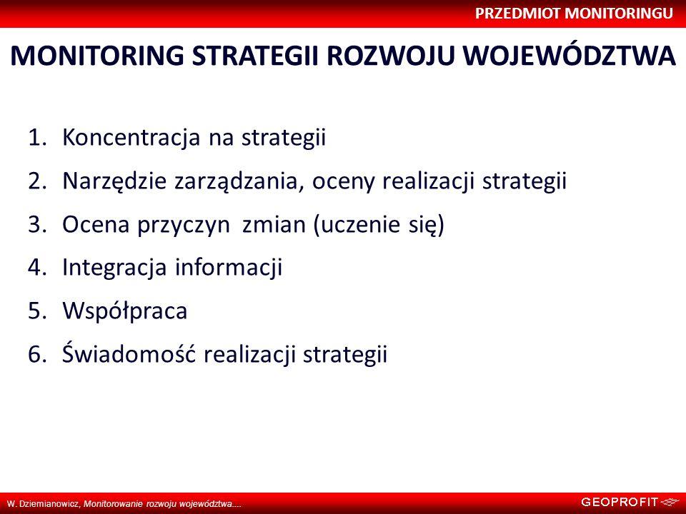 PRZEDMIOT MONITORINGU W. Dziemianowicz, Monitorowanie rozwoju województwa…. MONITORING STRATEGII ROZWOJU WOJEWÓDZTWA 1.Koncentracja na strategii 2.Nar