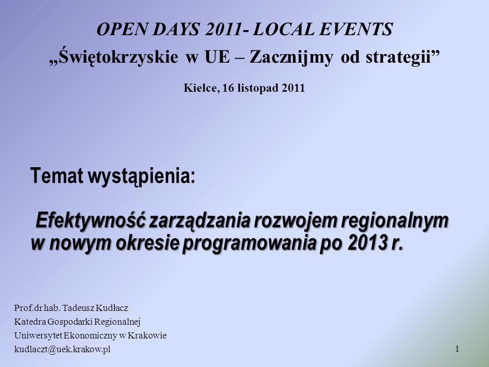 Efektywność zarządzania rozwojem regionalnym w nowym okresie programowania po 2013 r. Temat wystąpienia: Efektywność zarządzania rozwojem regionalnym