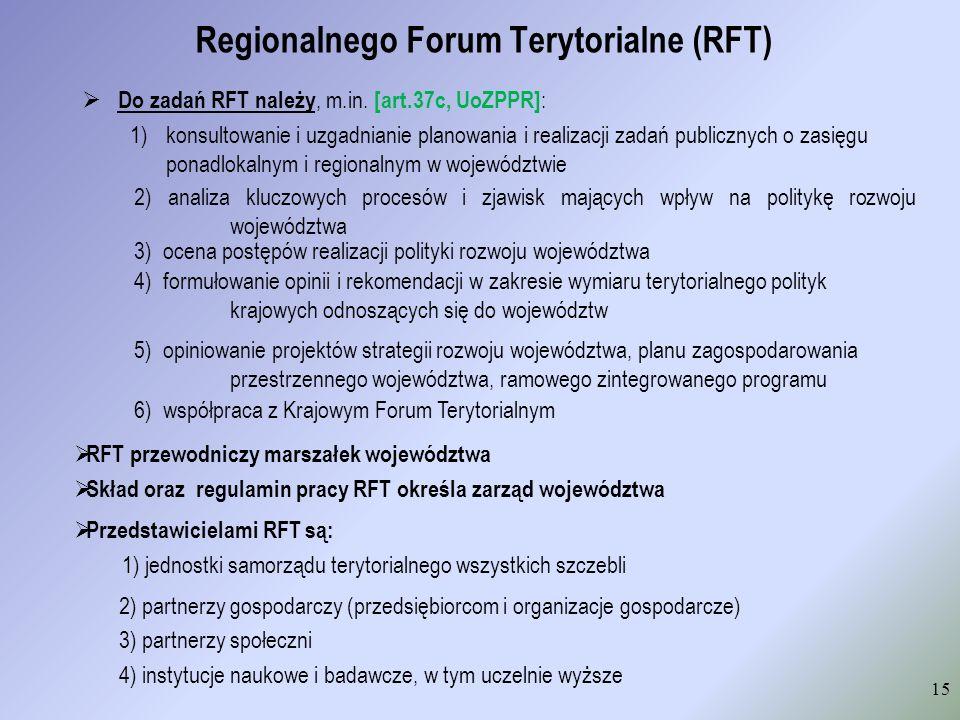 Regionalnego Forum Terytorialne (RFT) Do zadań RFT należy, m.in. [art.37c, UoZPPR] : 1)konsultowanie i uzgadnianie planowania i realizacji zadań publi