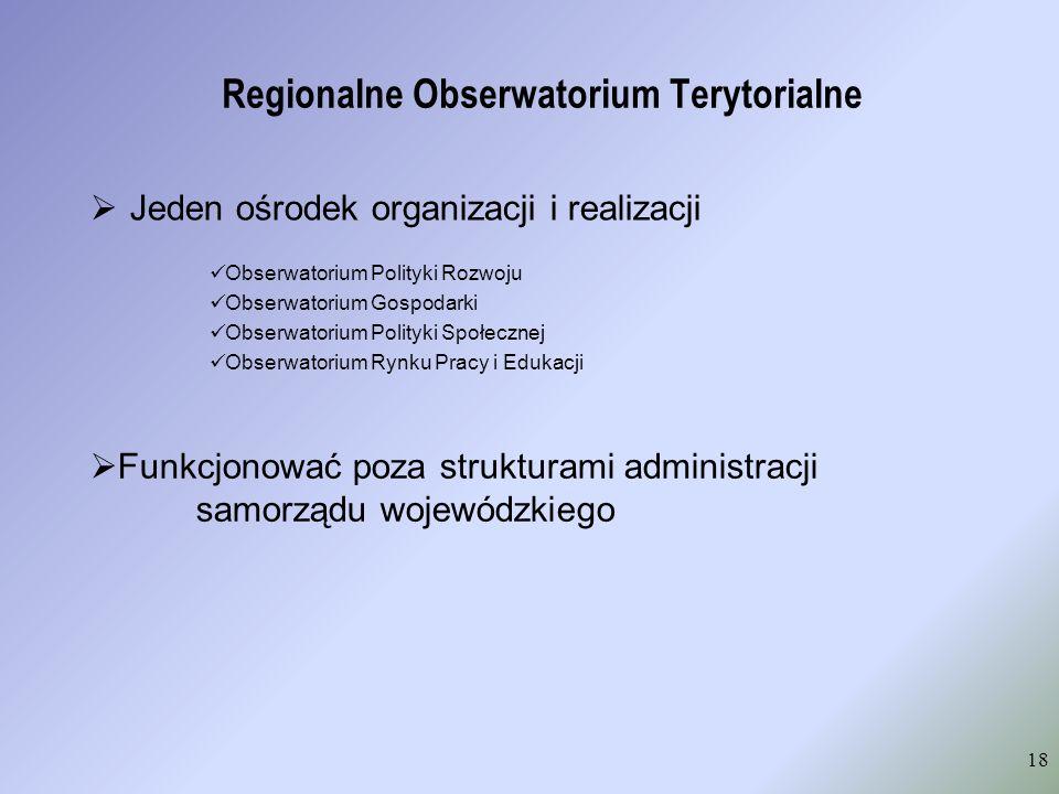 Regionalne Obserwatorium Terytorialne Jeden ośrodek organizacji i realizacji 18 Obserwatorium Polityki Rozwoju Obserwatorium Gospodarki Obserwatorium