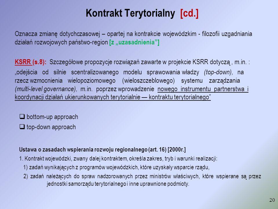 Kontrakt Terytorialny [cd.] 20 Oznacza zmianę dotychczasowej – opartej na kontrakcie wojewódzkim - filozofii uzgadniania działań rozwojowych państwo-r