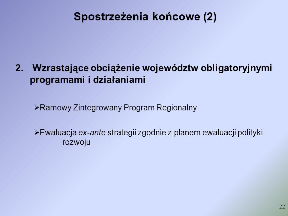 Spostrzeżenia końcowe (2) 22 2. Wzrastające obciążenie województw obligatoryjnymi programami i działaniami Ramowy Zintegrowany Program Regionalny Ewal