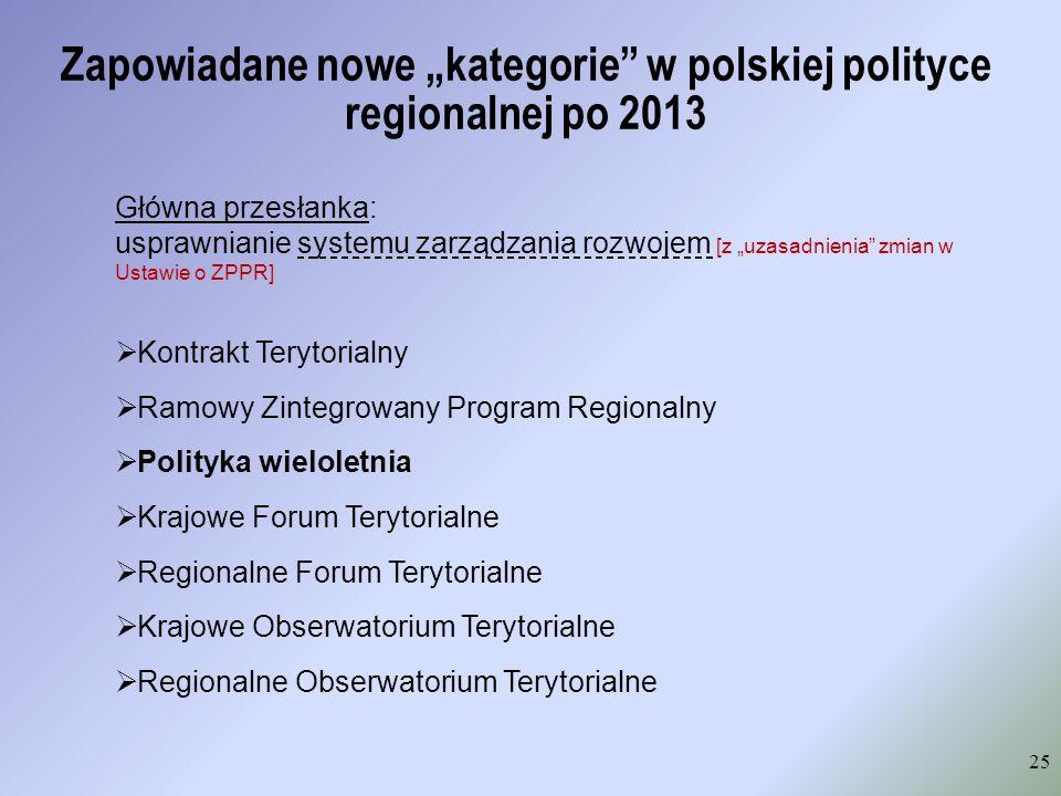 Zapowiadane nowe kategorie w polskiej polityce regionalnej po 2013 25 Główna przesłanka: usprawnianie systemu zarządzania rozwojem [z uzasadnienia zmi