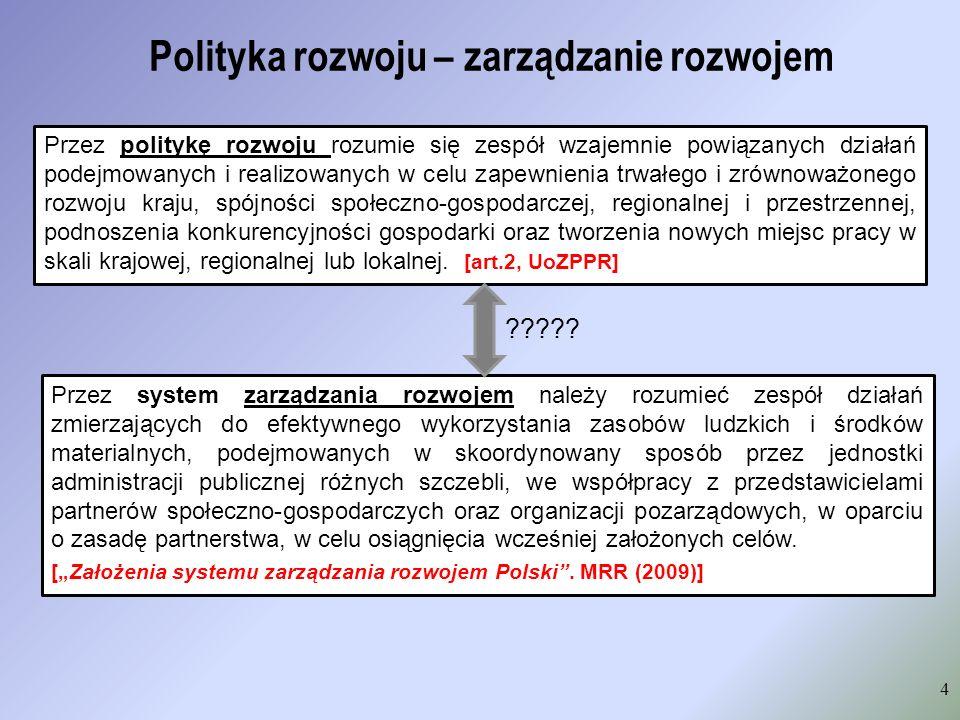 Wnioski z przedstawianych definicji polityki regionalnej Przedstawione definicje polityki rozwoju oraz zarządzania rozwojem pozwalają wyróżnić kluczowe, wspólne składowe, tj.: Rezultatem przyjęcia modelu [zarządzania], wypracowanego w toku szerokiej debaty, powinna być poprawa jakości i efektów zarządzania przez państwo polityką rozwoju [ Założenia systemu zarządzania rozwojem ] musi istnieć ośrodek decyzyjny, czyli organ władzy publicznej zorientowane są na osiąganie celów są świadomym działaniem odpowiednich podmiotów realizowana są poprzez narzędzia dostępne podmiotom podejmującym odpowiednie wyzwania należą do sfery procesów regulacji Zatem: zarządzanie rozwojem, czy zarządzanie polityką rozwoju Ekspertyza: Kierunki i zmiany niezbędne do stworzenia docelowego systemu zarządzania polityką rozwoju na poziomie regionalnym (MRR, czerwiec 2011)
