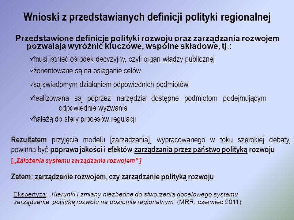 Wnioski z przedstawianych definicji polityki regionalnej Przedstawione definicje polityki rozwoju oraz zarządzania rozwojem pozwalają wyróżnić kluczow