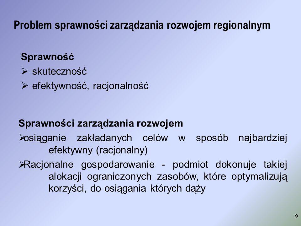 Problem sprawności zarządzania rozwojem regionalnym Sprawność skuteczność efektywność, racjonalność 9 Sprawności zarządzania rozwojem osiąganie zakład