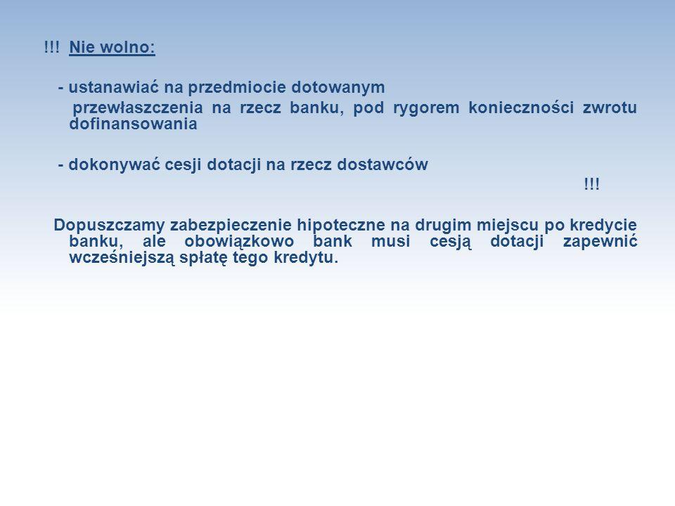 !!! Nie wolno: - ustanawiać na przedmiocie dotowanym przewłaszczenia na rzecz banku, pod rygorem konieczności zwrotu dofinansowania - dokonywać cesji
