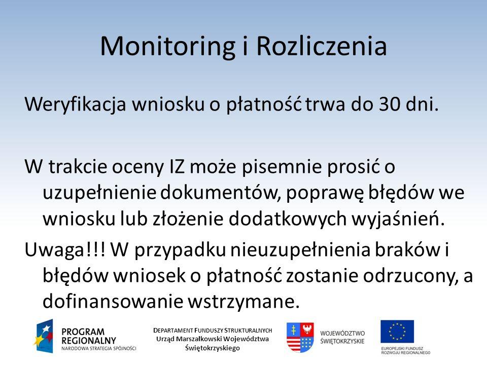 D EPARTAMENT F UNDUSZY S TRUKTURALNYCH Urząd Marszałkowski Województwa Świętokrzyskiego Monitoring i Rozliczenia Weryfikacja wniosku o płatność trwa d