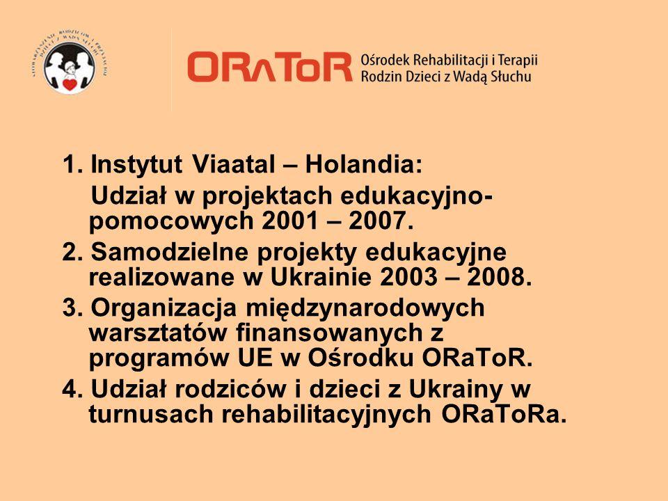 1. Instytut Viaatal – Holandia: Udział w projektach edukacyjno- pomocowych 2001 – 2007. 2. Samodzielne projekty edukacyjne realizowane w Ukrainie 2003